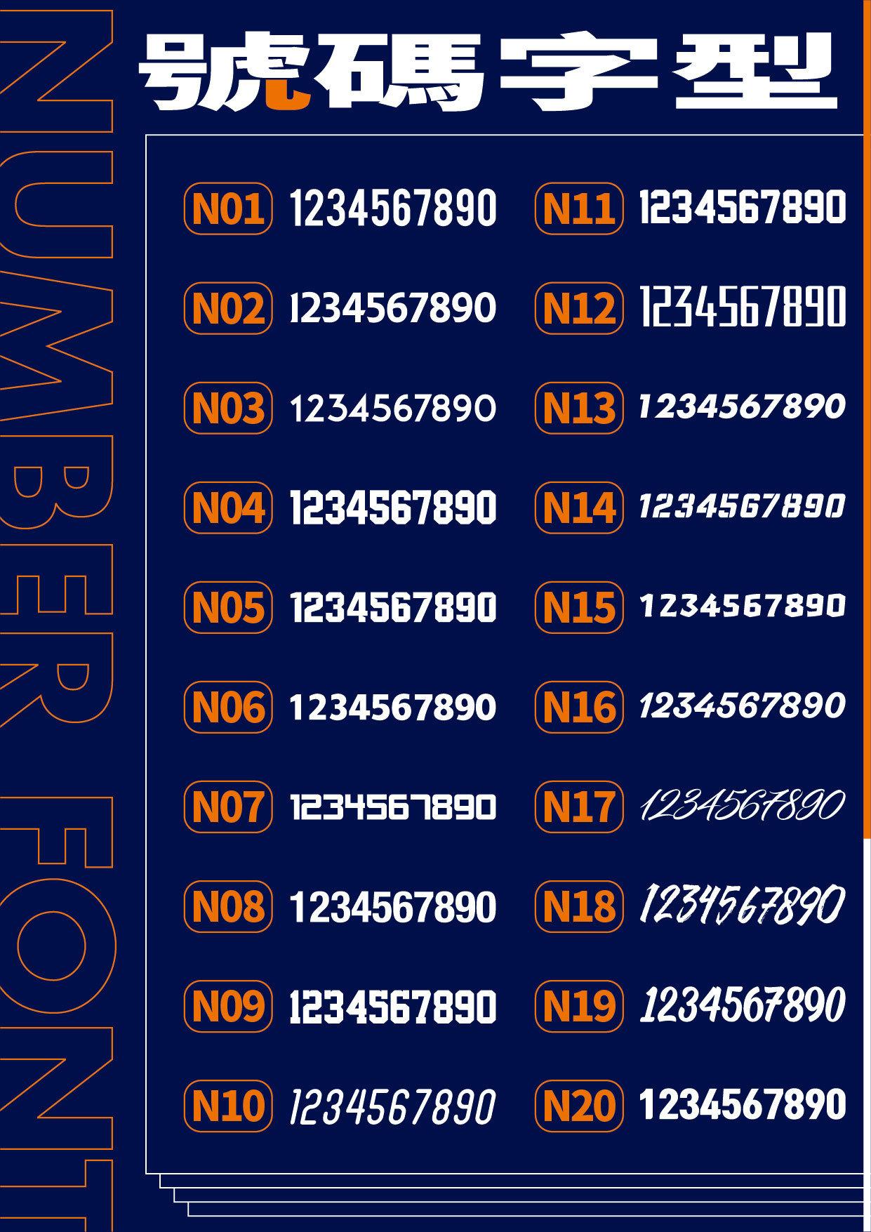 眾星實業數字字型參考表